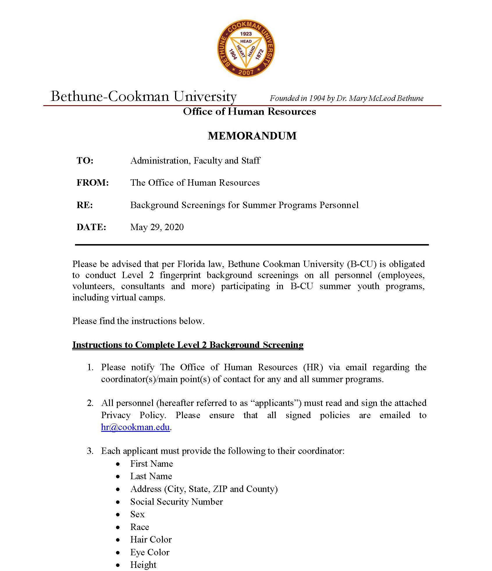 Memo_Summer_Program_Personnel_Page_1